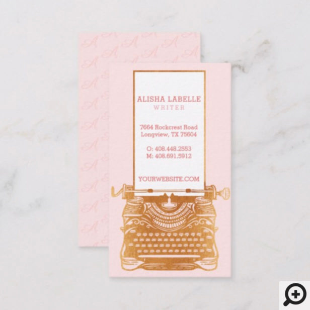 Vintage Pink & Gold Underwood Typewriter Monogram Business Card