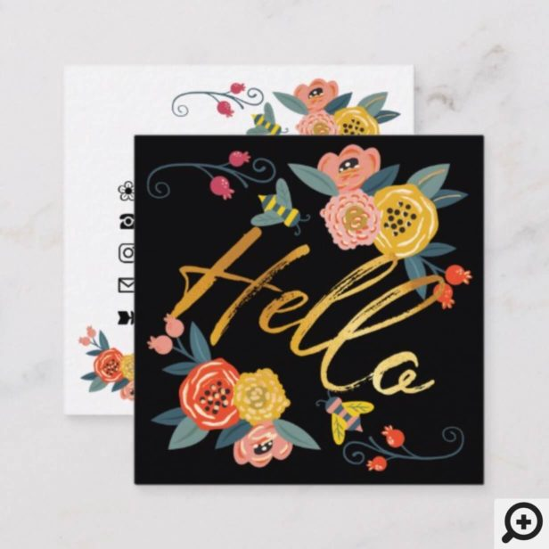 Hello | Vibrant Floral Wildflowers & Honey Bee Square Business Card