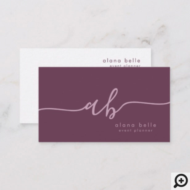 Modern, Minimal & Sophisticated Script Monogram Business Card