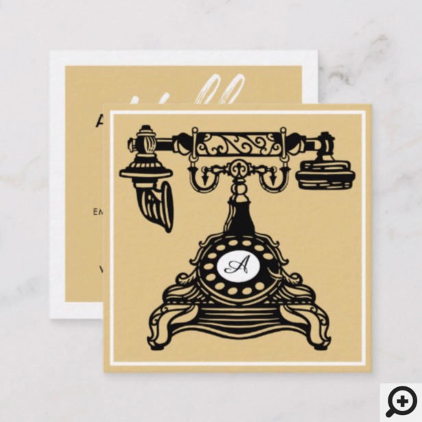 Hello | Yellow Gold Vintage Antique Phone Monogram Square Business Card