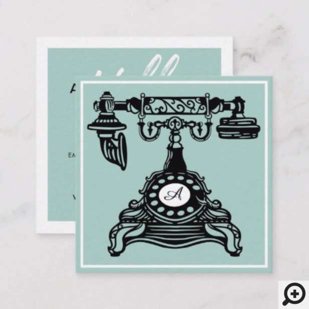 Hello | turquice Vintage Antique Phone Monogram Square Business Card