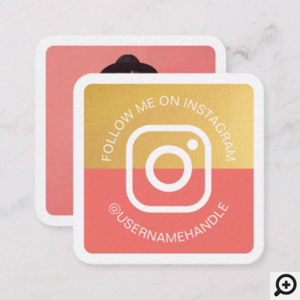 Modern Social Media Instagram Follow Me Photo Square Business Card