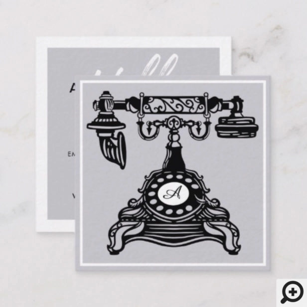 Hello | Lavender Vintage Antique Phone Monogram Square Business Card
