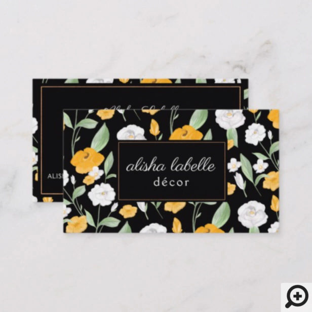 Yellow & White Watercolor Wildflower Floral Leaf Black Business Card