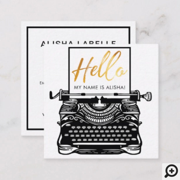 Hello Introduction Vintage Antique Typewriter Square Business Card