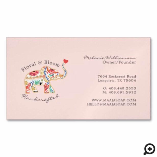 Elegant Feminie Floral Decorative Ornate Elephant Business Card Magnet
