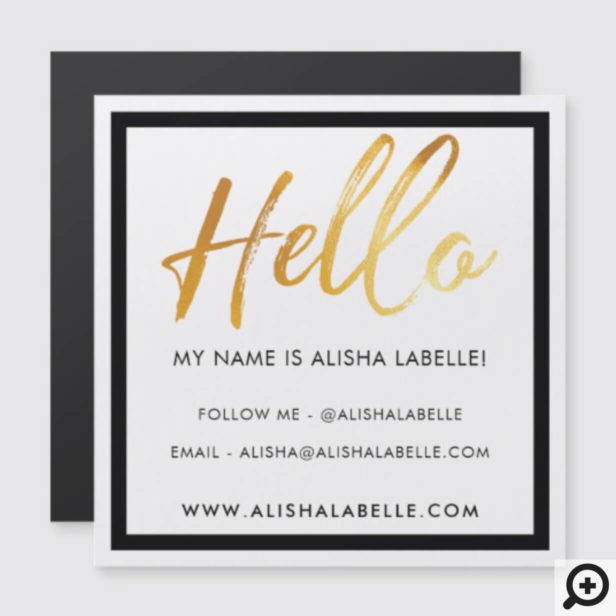 Hello Introduction Gold Brush Script & Black Frame