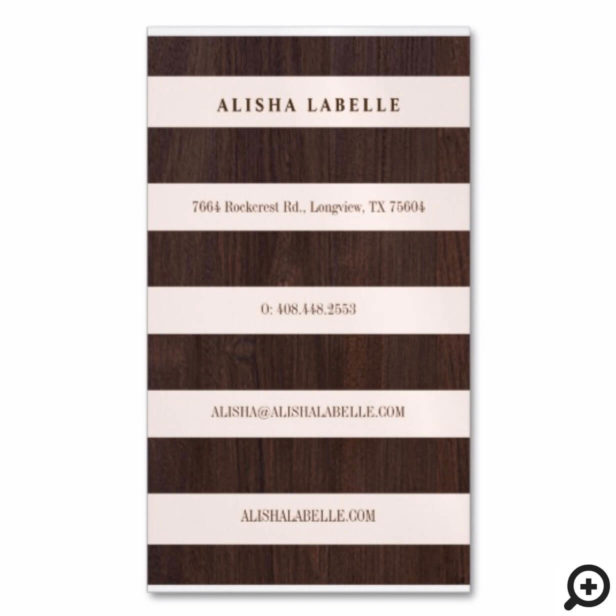 Chic Blush Pink, Dark Wood & Gold Stylish Monogram Business Card Magnet