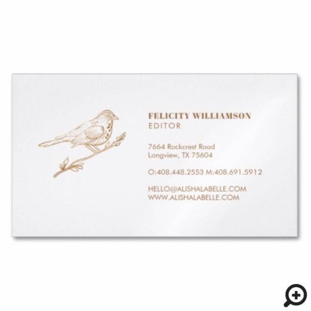 Elegant Light Cream & Gold Perched Bird Business Card Magnet