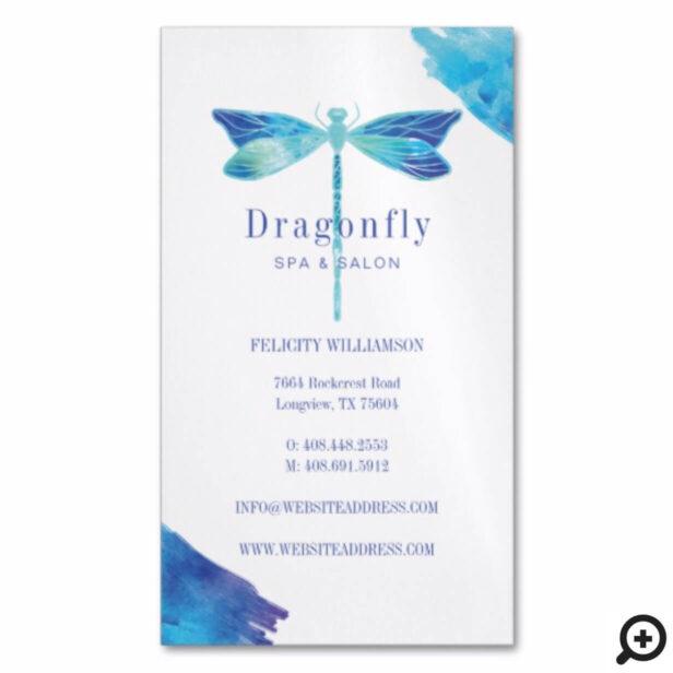 Elegant Blue Watercolor Wash Dragonfly Logo Business Card Magnet