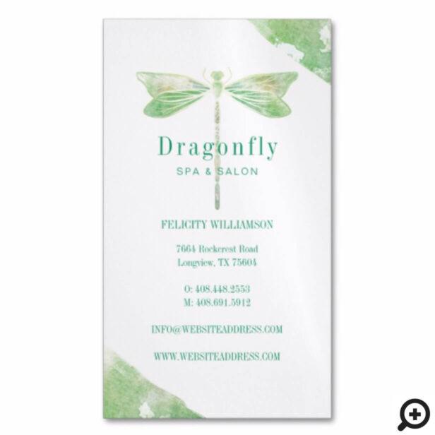 Elegant Green Watercolor Wash Dragonfly Logo Business Card Magnet