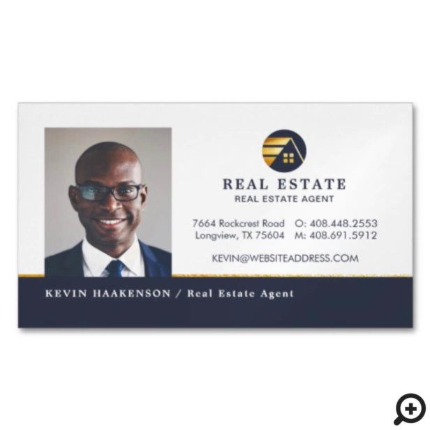 Professional Real Estate   Photo Layout Horizontal Business Card Magnet