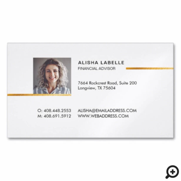 Minimal Professional Black & Gold Photo Layout Business Card Magnet