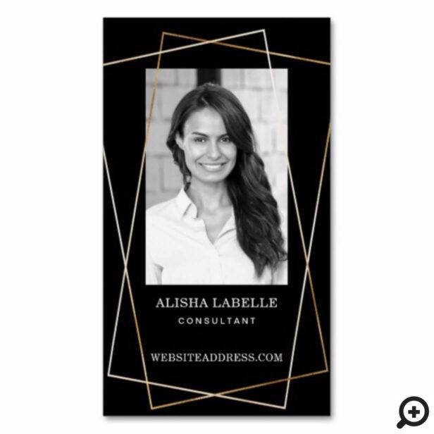 Black & Gold Geometric Photo Layout & Monogram Business Card Magnet