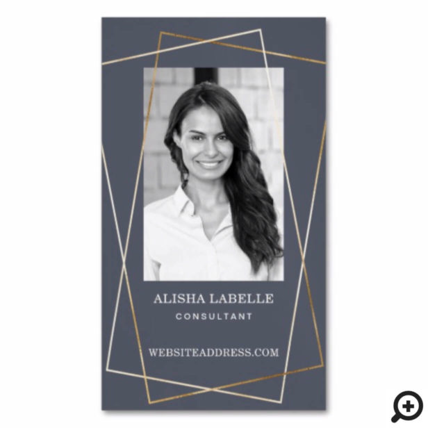 Grey & Gold Geometric Photo Layout & Monogram Business Card Magnet