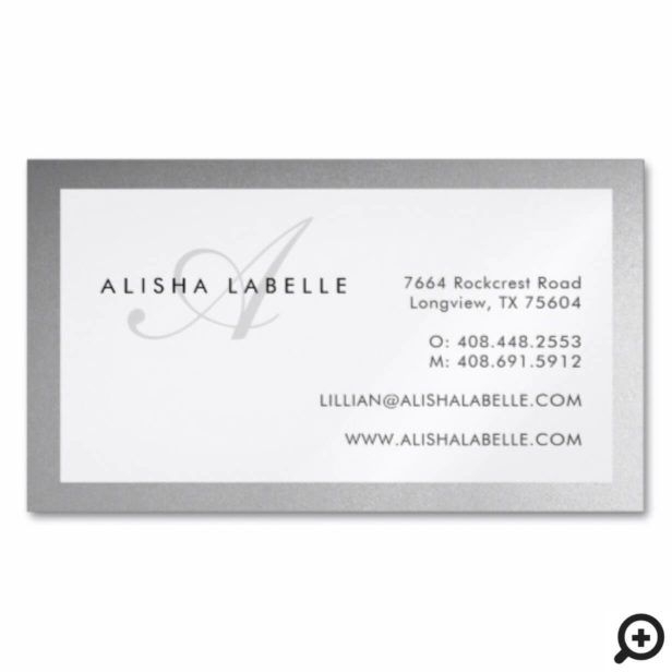 Faux Silver & Elegant Script Monogram Minimal Business Card Magnet
