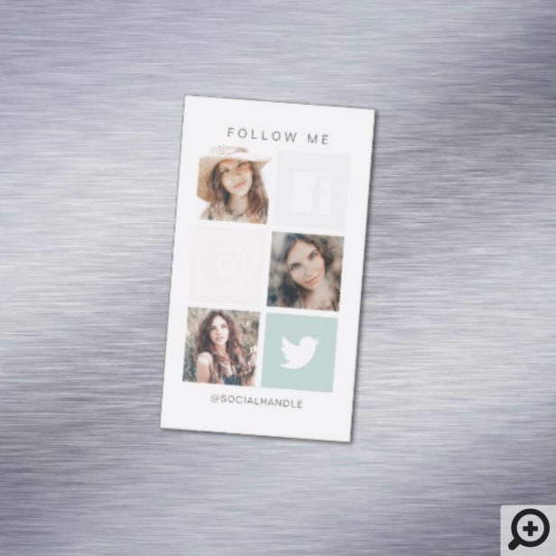 Follow Me Social Media Square Grid Photo Collage Business Card Magnet
