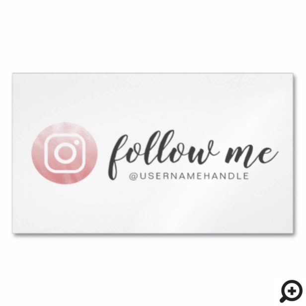 Follow Me Social Media Instagram Pink Gold Business Card Magnet