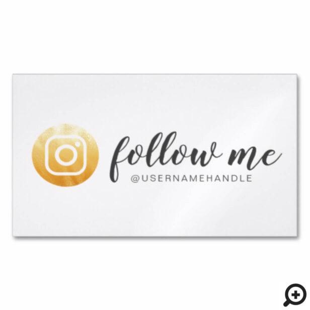 Follow Me Social Media Instagram Gold Business Card Magnet