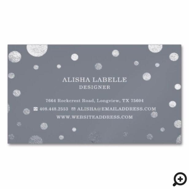 Grey Feminine Chic Silver Confetti Polka Dot Business Card Magnet