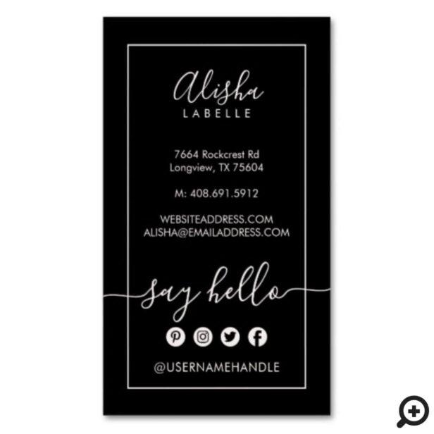 Say Hello   Elegant Black & Blush Pink Social Business Card Magnet