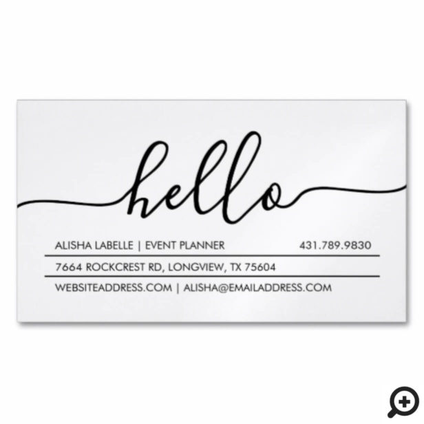 Hello Script | Modern & Stylish Minimal White Business Card Magnet