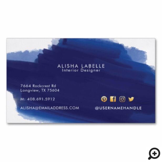 Modern Navy Watercolor Wash Brush Stroke Business Card Magnet