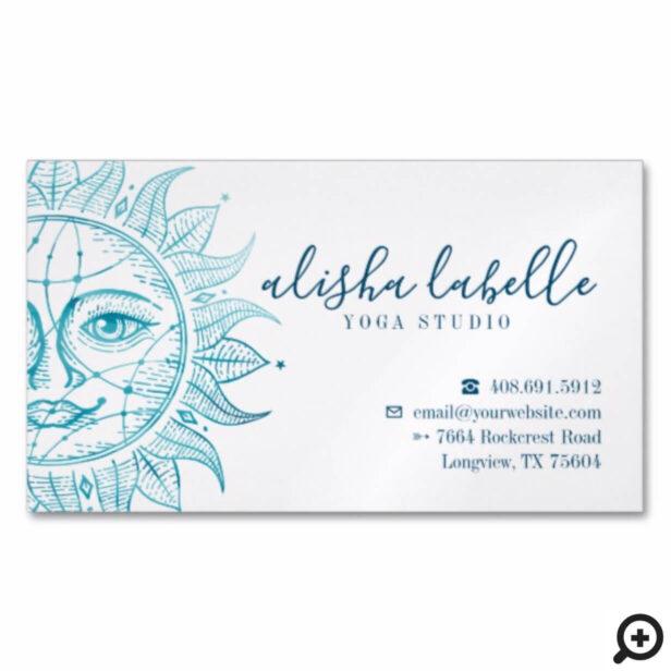 Holistic & Beautiful Celestial Sun Face & Stars Business Card Magnet