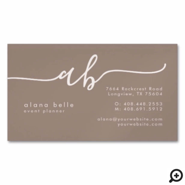 Modern, Minimal & Sophisticated Script Monogram Business Card Magnet