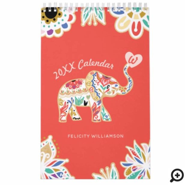 Elegant Floral Decorative Ornate Elephant Pattern Calendar