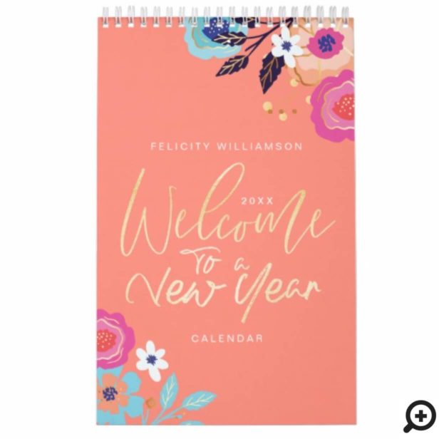 Welcome To A New Year Floral Inspirational Quotes Calendar