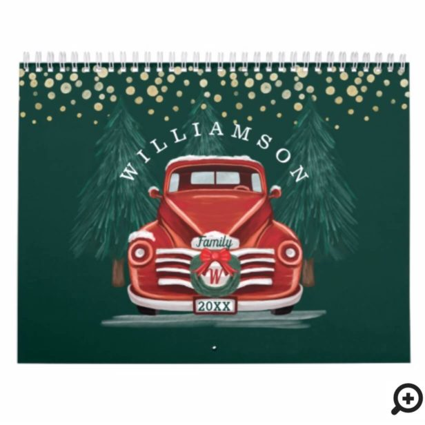 Rustic Warm Vintage Red Truck Family Photo Calendar