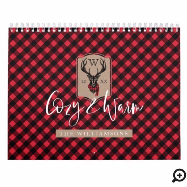 Cozy & Warm | Red Buffalo Plaid Reindeer Monogram Calendar