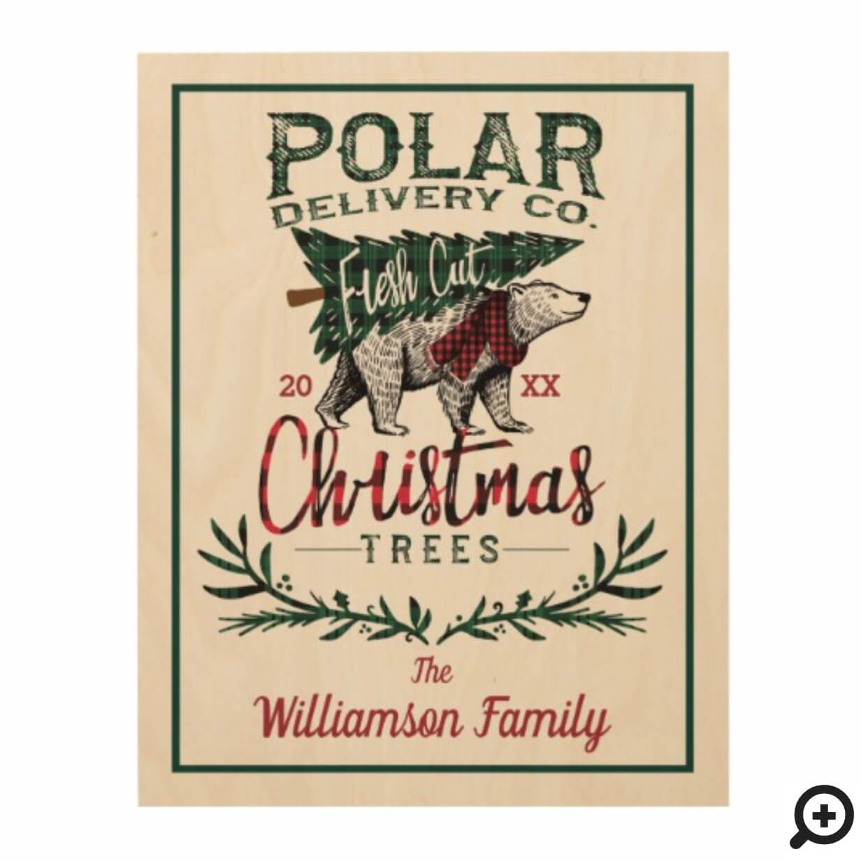 Polar Delivery Co Fresh Cut Christmas Trees Family Wood Print