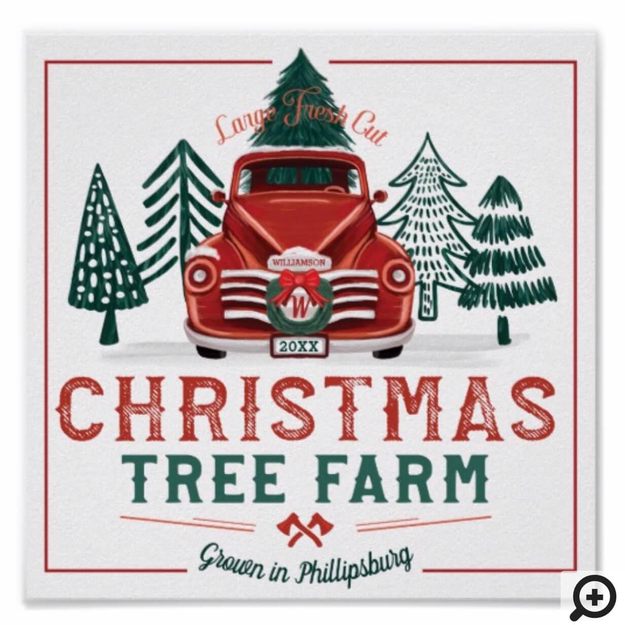 Large Fresh Christmas Tree Farm Vintage Truck Poster