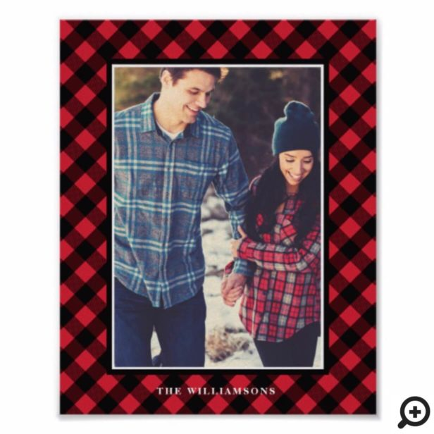 Cozy & Warm | Red Buffalo Plaid Family Photo Frame Poster