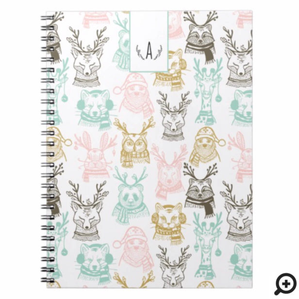 Modern Etched Style Woodland Animals Christmas Notebook