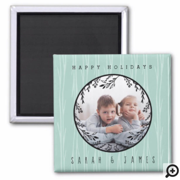Festive Holiday Forest Monogram Holiday Photo Magnet