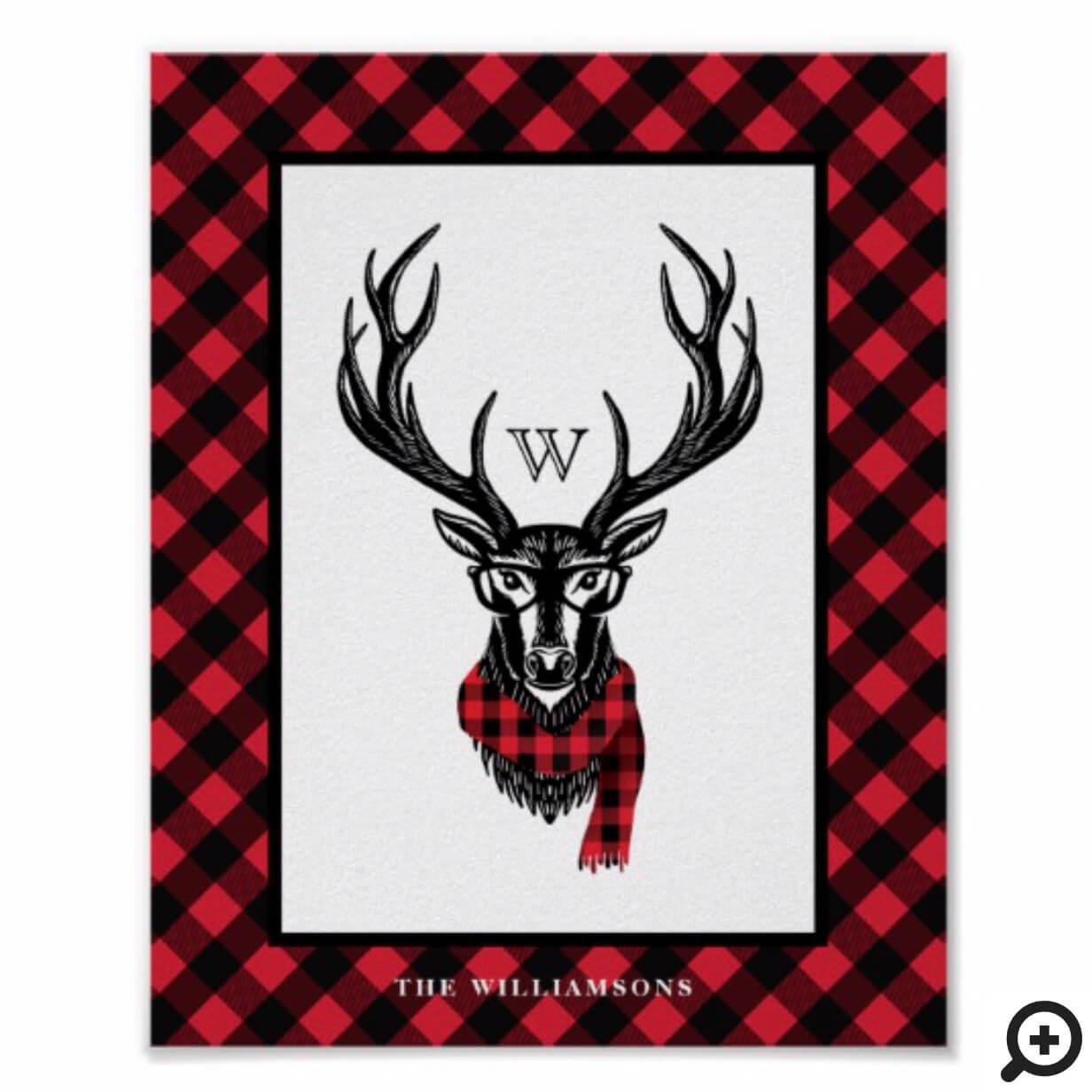 Cozy & Warm | Red Buffalo Plaid Reindeer Monogram Poster