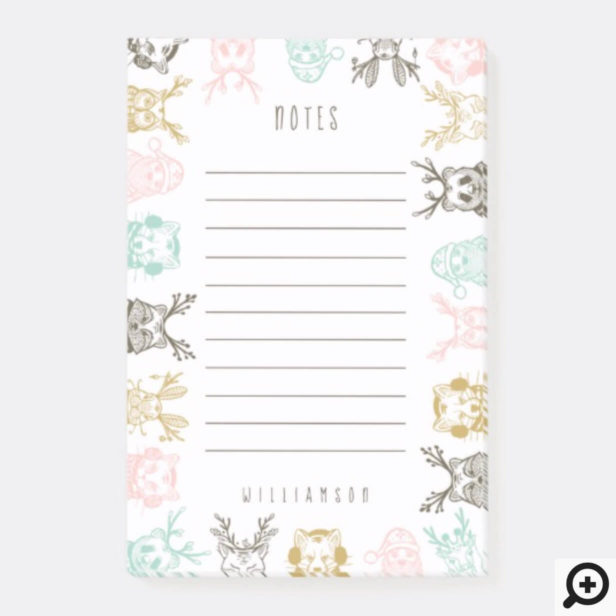 Modern Etched Style Woodland Animals Christmas Post-it Notes