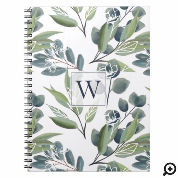 Monogram Inital Elegant Watercolor Winter Foliage Notebook
