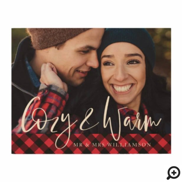 Cozy & Warm | Red Buffalo Plaid Mr & Mrs Photo Wood Print