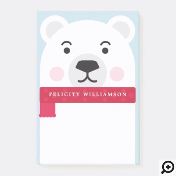 Cute Winter Polar Bear Character Illustration Post-it Notes