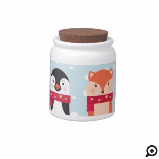 Winter Christmas Deer, Polar Bear, Penguin & Fox Candy Jar