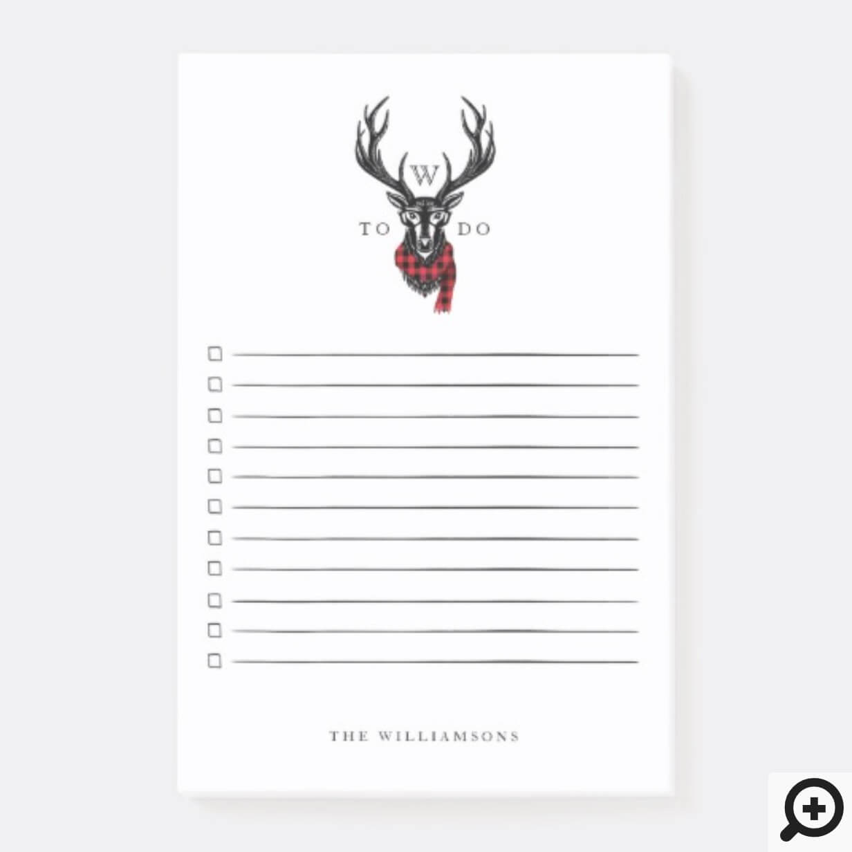 ozy & Warm | Red Buffalo Plaid Reindeer Monogram Post-it Notes