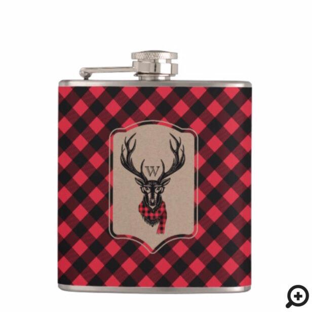 Cozy & Warm   Red Buffalo Plaid Reindeer Monogram Flask