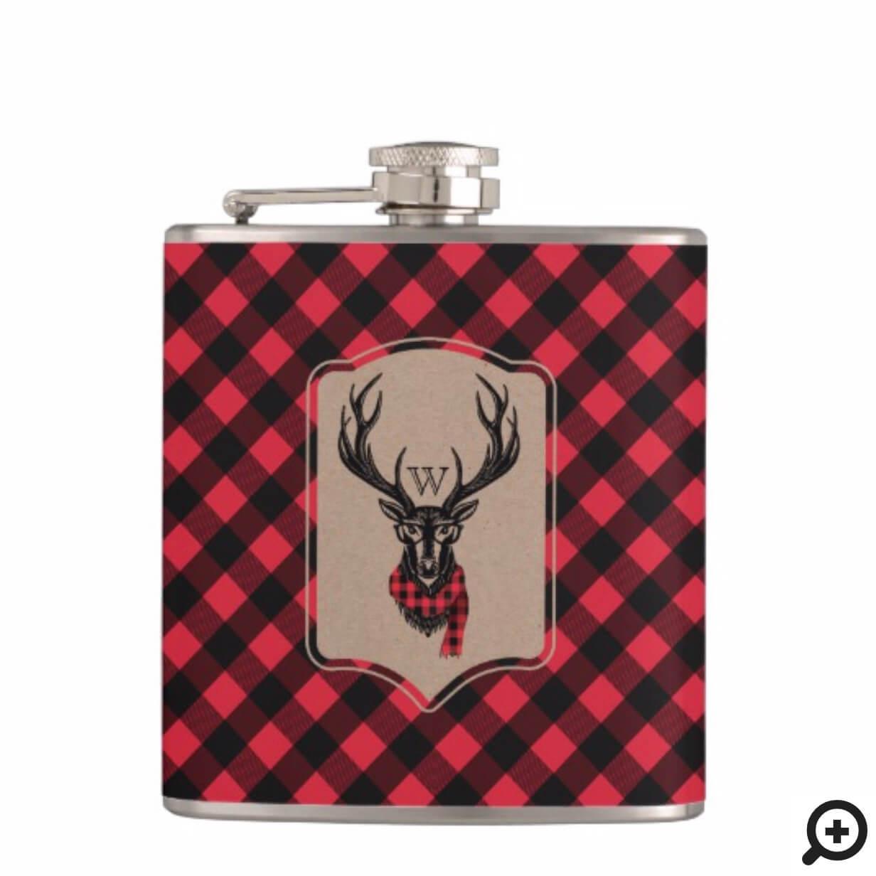 Cozy & Warm | Red Buffalo Plaid Reindeer Monogram Flask