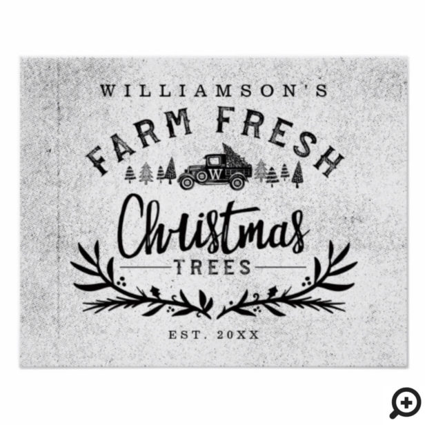 Vintage Car Christmas Tree Delivery Black & White Poster
