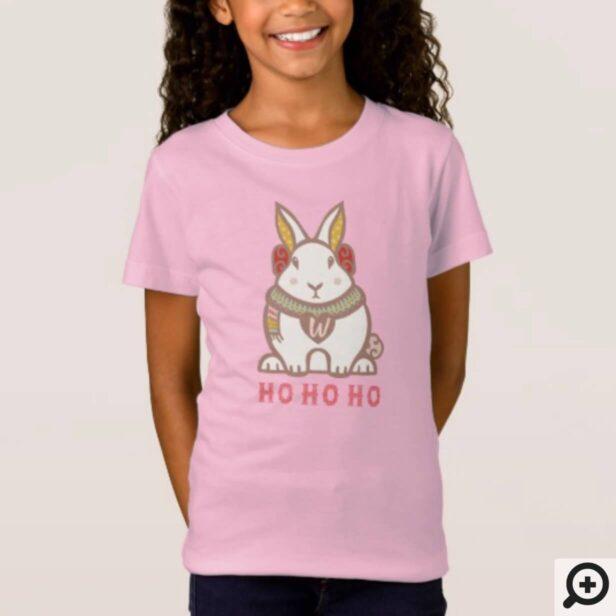 HO HO HO Woodland Forest Bunny Rabbit Holiday T-Shirt
