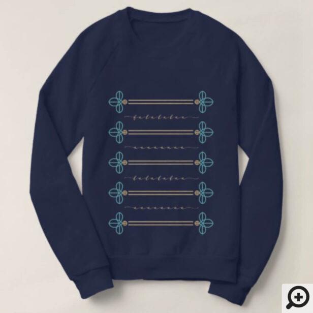 Fa La La Nutcracker Button Detail Pattern Sweatshirt